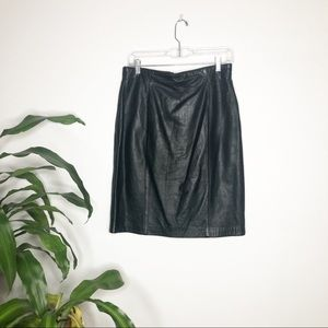 Lord + Taylor┃Black Genuine Leather Skirt